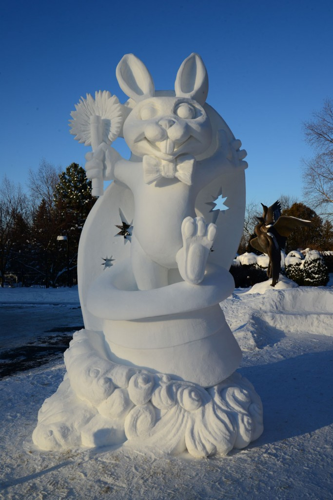 Commissioned Snow Sculpture 2015 for Woodson Art Museum in Wausau, Wisconsin.